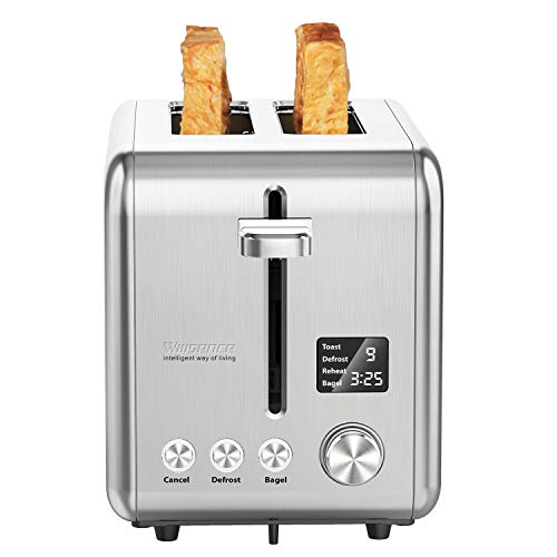 2 Slice Toaster Willsence Toaster Extra-Wide Slot Stainless Steel Compact Toasters with 9 Browning Setting, Bagel/Defrost/Cancel/Reheat Function, Removable Crumb Tray and Sliver