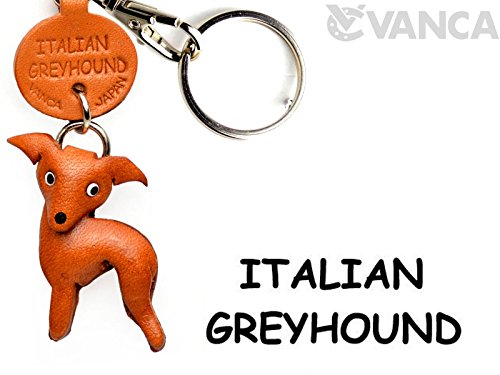 - Italian Greyhound Leather Dog Small Keychain VANCA CRAFT-Collectible Keyring Charm Pendant Made in Japan