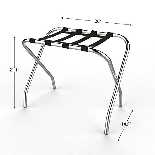 Lavish Home Chrome Folding Luggage Rack and Suitcase Stand- Durable Folding Bag Holder with Black Nylon Straps by Lavish Home (Image #3)