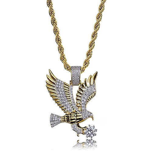 "TOPGRILLZ Hip Hop 14K Gold Plated Iced Out Simulated Diamond Eagle Pendant Necklace with 24"" Rope Chain (Gold)"