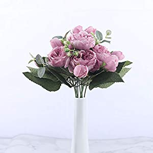 You Are My Eye 30cm Rose Pink Silk Peony Artificial Flowers Bouquet 5 Big Head 4 Bud Fake Flowers Home Wedding Decoration,Pink 3