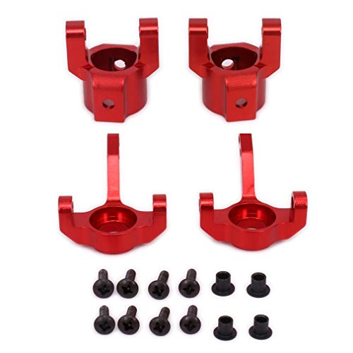 Kit 4wd Buggy Electric (1/10 Steering Aluminum C Hub Carrier & Knuckle (L/R) Kit for AXIAL SCX10 Electric 4WD Jeep Wrangler Rubicon Off-Road Rock Crawler Desert Buggy Truck RC Hobby Model Upgrade Parts(Red))