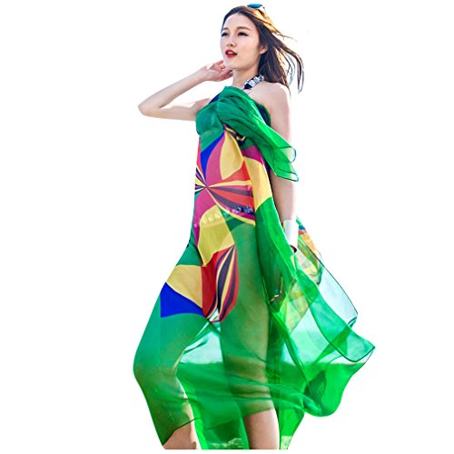 GERINLY Chiffon Sarong Wrap: Geometrical Design Plus Size Beach Cover up (Green)