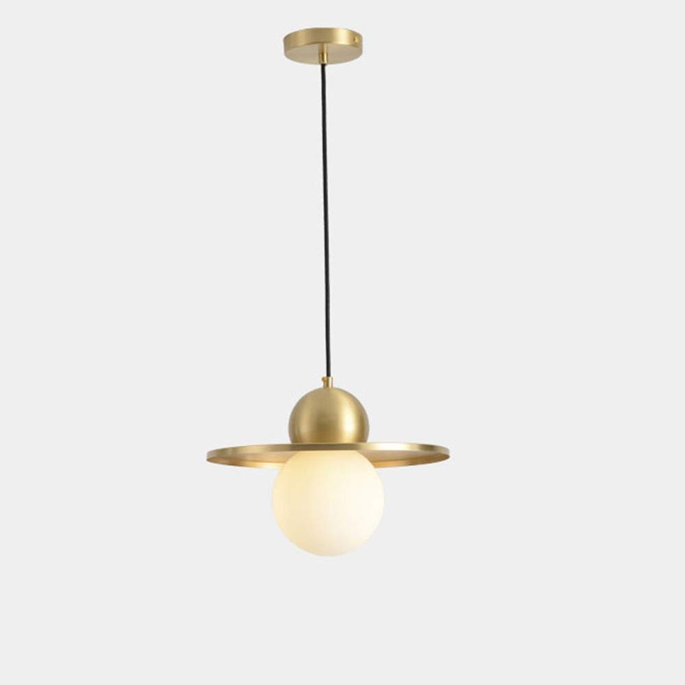 Chitty LED Copper Glass Ceiling Lamp Yellow Warm Light Chandelier Dining Living Room Study Bedroom Gold Simple Modern Personality Minimalism Creative