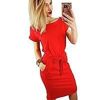 Inkpoo Womens Casual Dress Short Sleeve Wear to Work Elegant Office Dress with Belt
