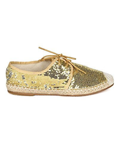 Nature Breeze Women Sequinned Fabric Espadrille Capped Toe Lace Up Flat CA76 - Gold (Size: 7.5) by Nature Breeze (Image #1)