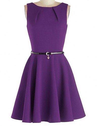 PU&PU Robe Aux femmes Patineuse Vintage , Couleur Pleine Col Arrondi Mi-long Coton / Autres , black-xl , black-xl