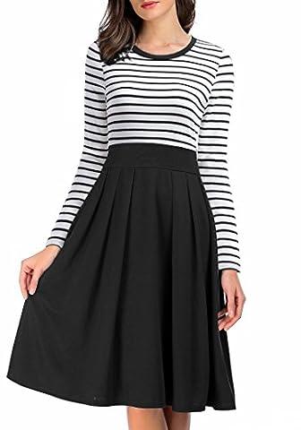 AAMILIFE Women's Scoop Neck Stripes Long Sleeve Casual Office Fit Swing Dress Black S (Long Sleeve Office)