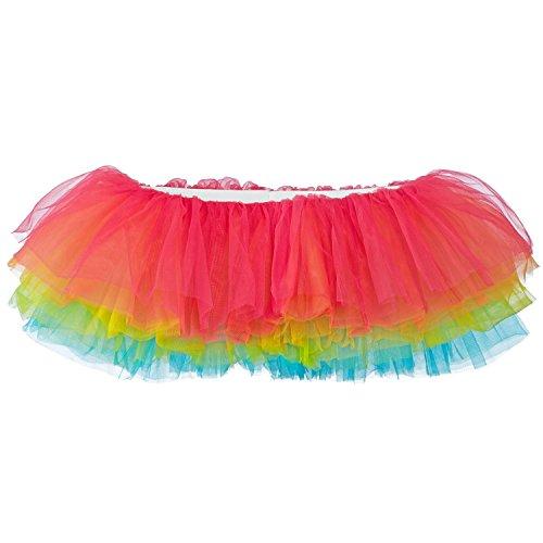 Rainbow Girl Sexy Costumes (My Lello Women's, Teen, Adult 10-Layer Ballet Tulle Tutu Skirt -Bright Rainbow)