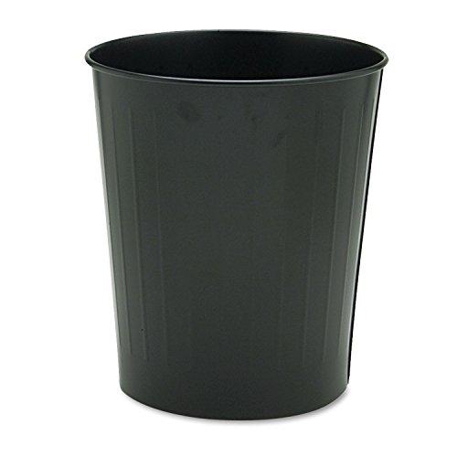 Safco 9604BL Round Wastebasket Steel 23.5qt Black ()