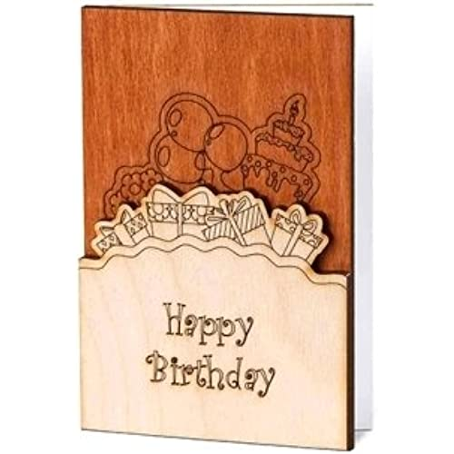 Real Wood Handmade Happy Birthday Card with Presents Cake Balloons Outside and Flowers Inside Unique Original Sales