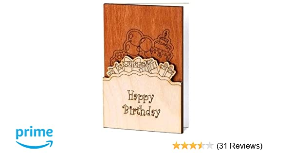Amazon Handmade Sustainable Real Wood Happy Birthday Wishes Greeting Card With Flowers Inside Unique Original Gift Idea For Him Man Or Her Woman