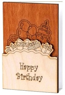Happy Birthday Card: Real Wood Greeting Card With Birthday Cake Balloons & Presents Design, Premium Handmade Wooden B Day Card Perfect Gift For Men Women Husband Wife Boyfriend Kids Son Daughter E