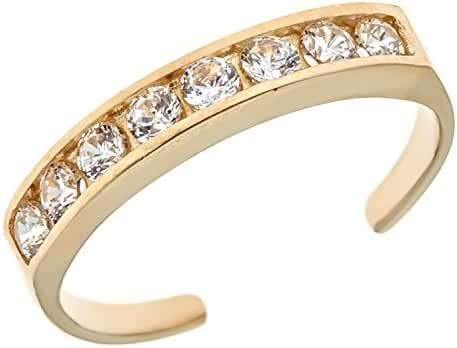 14k Solid Gold Eternity Band Cubic Zirconia Toe Ring Channel Set Adjustable Body Jewelry