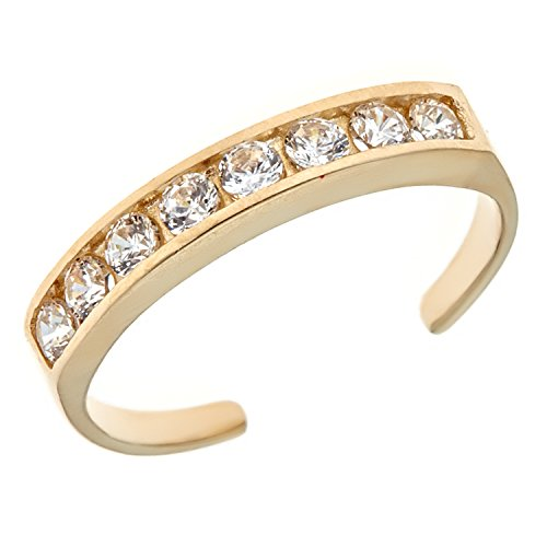 Ritastephens 10k Solid Gold Eternity Band Cubic Zirconia Toe Ring Channel Set Adjustable Body Jewelry ()