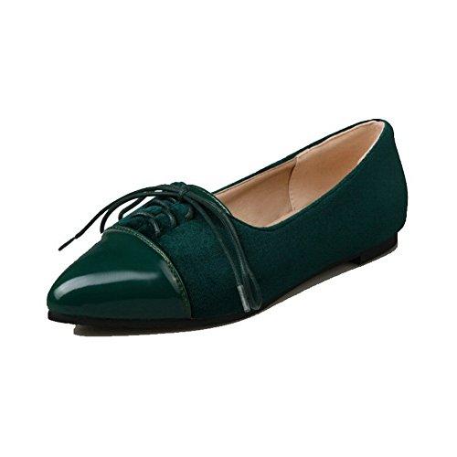 Légeres PU Talon Femme Chaussures à Couleur Cuir Pointu Bas Lacet Unie Vert AgooLar dqPIwxEd