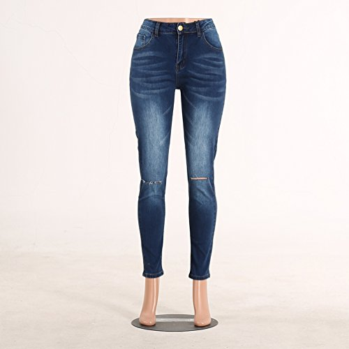 Sentao Mujeres Vaqueros del Agujero Pantalones de Mezclilla Skinny Jeans Pants Estilo 1