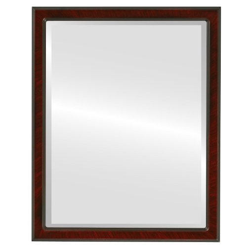 Decorative Mirror for Wall | Framed Rectangle Beveled Wall Mirror | Toronto Style - Vintage Cherry - 22x26 outside dimensions (Above 1 Toronto Store Bedroom)