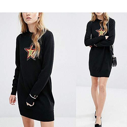 Punto Cable color Suéter Negro S Invierno Tamaño Tejido Mujeres Estrella Auming Vestido Cuello Negro Impresión De nBp8Iq