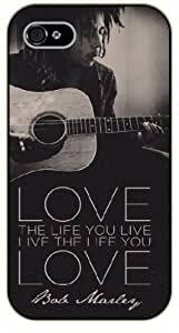 iPhone 4 / 4s Bob Marley Quotes - Love the life you live, live the life you love - black plastic case / Inspirational and Motivational