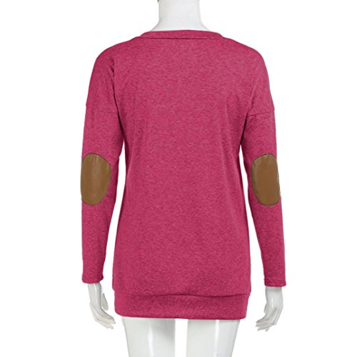 Angelof Casual Ado Ample Femme O Chic Top Oversize Sweatshirt Fille Femme Vintage Soldes Blouse Rose Col rqrxwT71an
