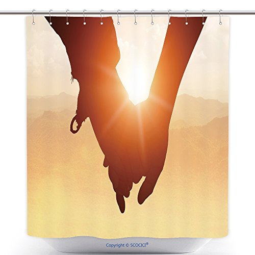vanfan-Durable Shower Curtains Silhouettes On Sunset Of Loving Couple Holding Hands While Walking At On Mount Stacked Polyester Bathroom Shower Curtain Set With Hooks(72 x 96 - Review Walking Sunshine On