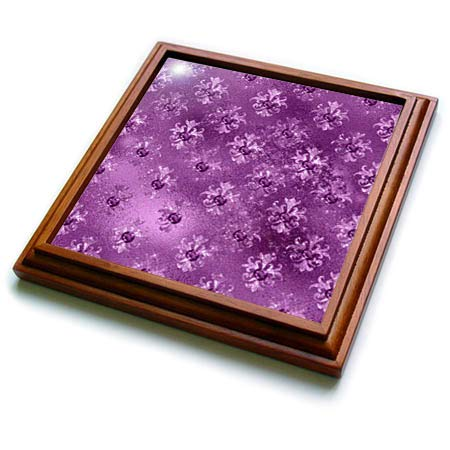 3dRose Anne Marie Baugh - Patterns - Glam Purple Image Of Floral Image Of Jewels Ornamental Pattern - 8x8 Trivet with 6x6 ceramic tile (trv_317606_1)