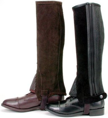- Tough 1 Suede Leather Half Chaps, Brown, Small