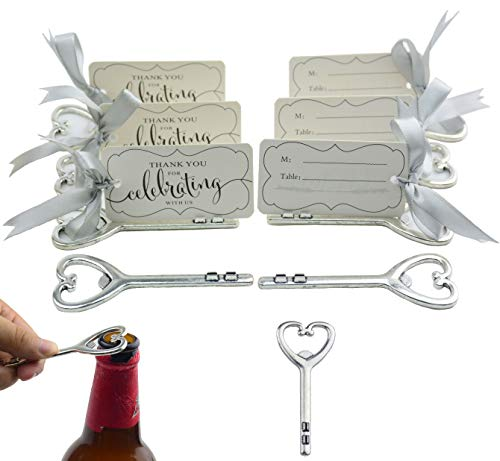 Aokbean 50pcs Multi Function Vintage Skeleton Key Bottle Opener Place Card Holders for Weddings Table Name Cards for Guest Souvenir French Ribbon Silver (Antique Silver) -