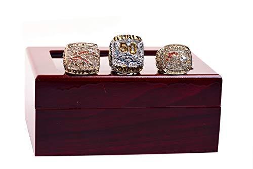 - GF-sports store 1997 1998 2015 Denve' Broncos Championship Replica Ring by Display Box Set- Fashion Gorgeous Collectible Jewelry (Denve' Broncos Set)
