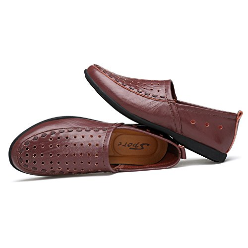 Style de Cuero Mocasines Hombre Breathable tamaño Brown Plantilla Mocasines Hombres shoes 44 los mocasín Color 2018 Hongjun Genuino EU Gamuza de Slip on para Dark Aw14qqX
