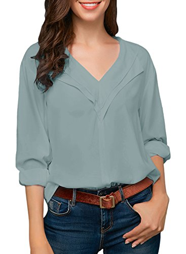 Dokotoo Womens Shirts Loose Ladies Casual Summer Solid Autumn Long Sleeve V Neck Chiffon Tops Blouses T Shirts for Work Medium by Dokotoo