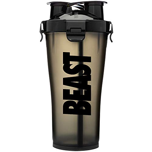 Hydra Cup - 36oz High Performance Dual Shaker Bottle, 2 in 1, 14oz + 22oz, Leak Proof, Awesome Colors, Patented PRE + Protein Shaker Cup, Save Time & Be Prepared, Beast Black ()