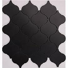 Colors optional lantern shape Aluminium Plastic Panel Self Adhesive mosaic tiles sticker, self-stick mosaic tiles for home wall, 30x30cm waterproof tiles, LSQ04 (11 pieces | 11sq.ft/1 sqm, Q04(Black))