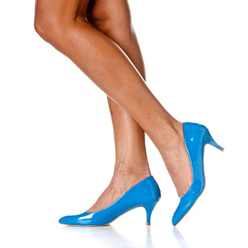 Riverberry Katy Blue Classic Womens Patent Pumps Pointed Toe U6OqwUv