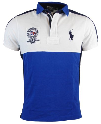 Polo Ralph Lauren Mens Custom Fit Big Pony Mesh Polo Shirt - M - Blue/White/Navy