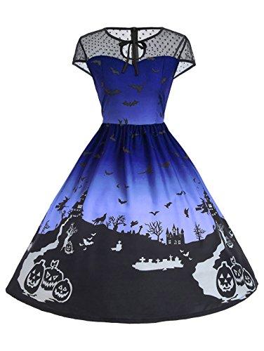 KCatsy Halloween Mesh Insert Vintage A Line Dress -
