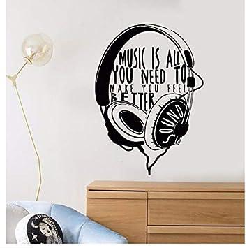Mhdxmp Tatuajes De Pared De Vinilo Auriculares Cita Musical ...