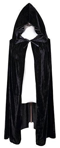 Bigxian Kids Hooded Velvet Cloak Halloween Christmas Fancy Cape for Kids (Black) - Velvet Witch Child Costumes