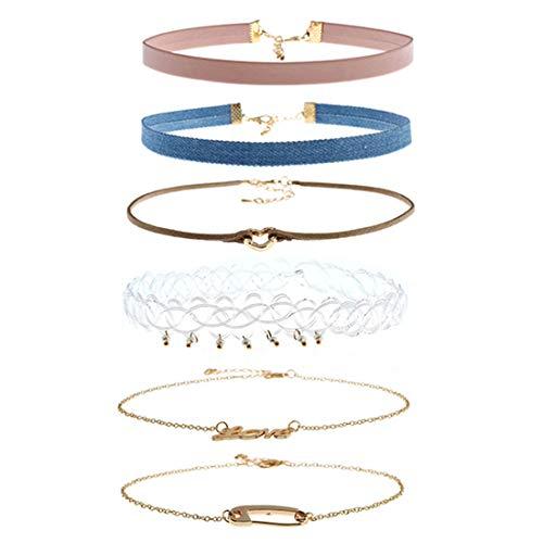 (Heyuni.6PCS Choker Necklace Set Velvet Denim Satin Adjustable Size Women Teen Girl Fashion)