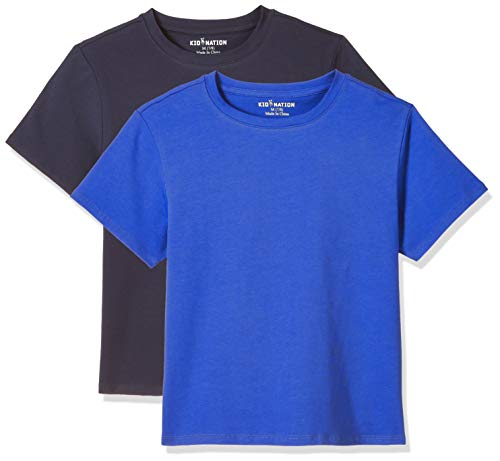 Kid Nation Kids Unisex 2 Packs and 3 Packs Soft Cotton with Elastane Short Sleeve Crew Neck T Shirts 4-12 Years
