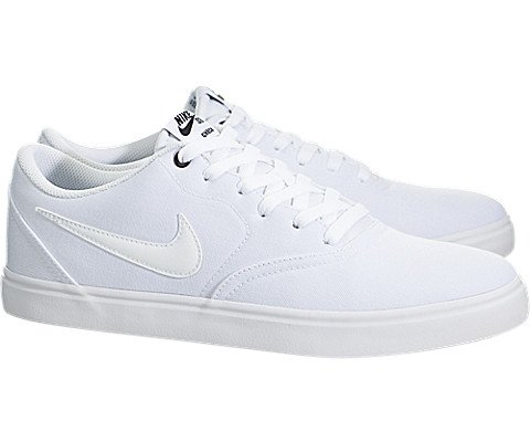 Nike Men's SB Check Solar Canvas Skate Shoe, Sneaker, White/White, 10 US M