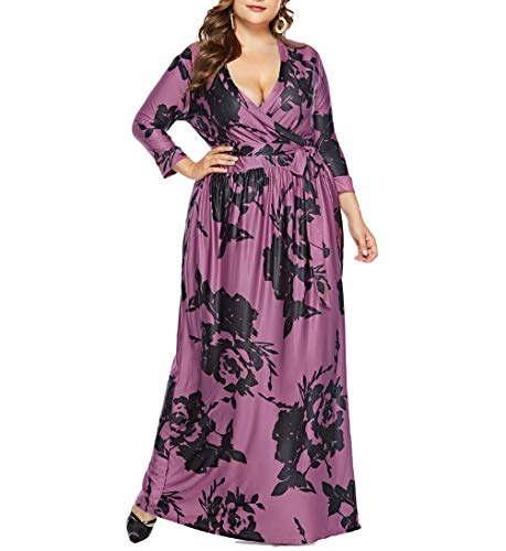 Eternatastic Womens Floral Maxi Dress V-Neck Wrap Plus Size Long Dress 5XL Purple