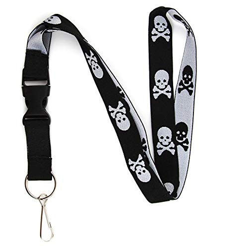 (Skull and Crossbones Lanyard Keychain and ID Holder with Detachable, Breakaway Buckle for Keys or Badge - Durable Black & White Woven Lanyard - Skeleton Novelty Necklace )