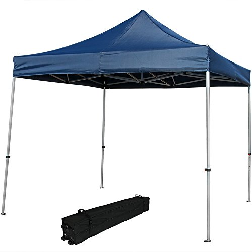 Sunnydaze Commercial Grade Heavy-Duty Aluminum Straight Leg Quick-Up Instant Canopy Event Shelter, 10 x 10 Foot, Blue, Includes Rolling Bag