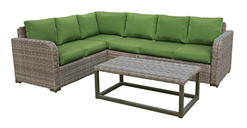 Leisure Made 5 Piece Forsyth Wicker Sectional, Green Fabric