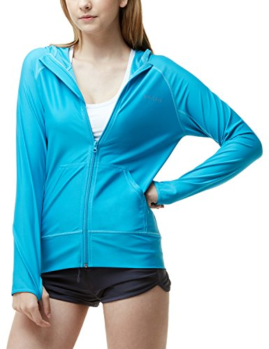 TSLA Women's UPF 50+ Full & Half Zip Front Long Sleeve Top Rashguard Swimsuit, Sun Block Zip Hoodie(fsz02) - Sky Blue, Medium