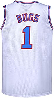 BOROLIN Youth Basketball Jersey #1 Moive Space Jerseys Bugs Shirts for Kids 90s Hiphop Party Clothing, White,