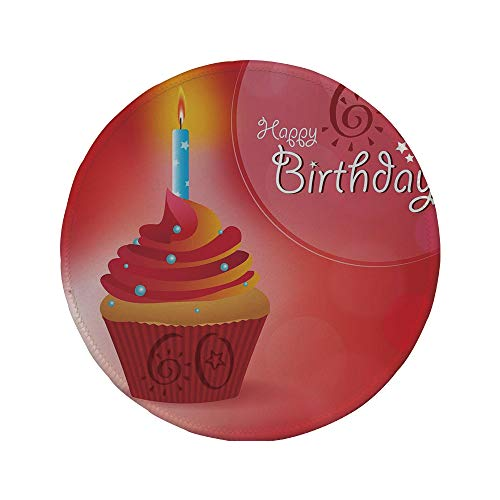 Non-Slip Rubber Round Mouse Pad,60th Birthday Decorations,Abstract Sun Beams Backdrop Party Cupcake with Frosting,Ruby Red and Orange,7.87