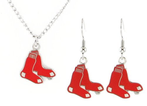 Boston Red Sox - MLB Earrings & Pendant Necklace Gift Set